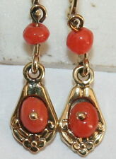 ANTIQUE VICTORIAN 9K YELLOW GOLD SALMON CORAL CHILD SMALL DANGLE EARRINGS c 1900