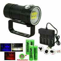 Underwater Photography Diving Flashlight 14LED 28800LM Torch White Red Blue Lamp