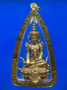Phra Somdej Emperor Buddha Statue Gold Micron Pendant Luang Ta Ma Thai Amulet