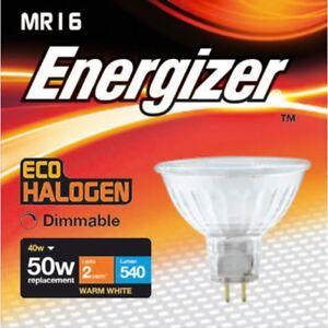 x 10 Energizer 40w (=50w) Halogen MR16 Spotlight Bulb 12v- Warm White (3000k)