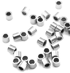 10 SMALL STERLING SILVER CRIMP BEADS, 2 X 2 MM OUTER MEASUREMENT, CRIMPS