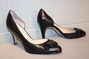 7.5 M AK Slim Hi Heel Shoe Anne Klein Bridget Smooth Black Leather Patent Buckle