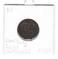 1 Demi batz environ 1726 Unterwald Suisse piece de monnaie ancienne