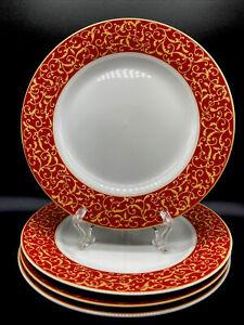 """Mikasa Parchment Rouge  SALAD Plates 8"""" Set Of Four (4) Pristine!!"""