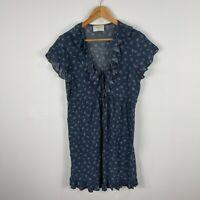 Auguste Womens Dress 12 Blue Floral Flutter Short Sleeve Ruffle Neck