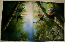 Parrots Painting Rio Brazil Art Canvas Hyacinth Drawing Red Macaw Toucan Birds