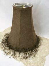 "Faux Leather Lamp Shade Brown Fringe Rustic Decor Lodge Feminine 8""x9""x4"" Small"
