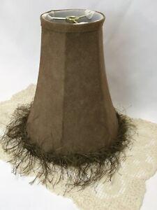 "Faux Leather Lamp Shade Brown Fringe Rustic Decor Lodge Feminine 8""x9""x4"" Small"