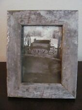 5x7 Vertical Sepia Photo in Rustic Wood Frame ~ Wagon