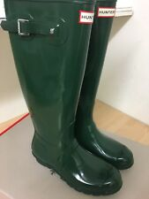 Señoras Botas Hunter Original Alta Brillante UK 3 Verde Oscuro 92153