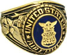 US Air Force 18k Gold Plated Engraved Ring