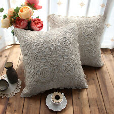 Ivory Crochet Ancient village flower lace cotton pillow cases cushion cover 43cm