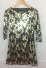 Papaya Occasionwear ladies sequins black and gold lined party dress size 10