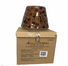 Home Interiors Jar Candle Shade Brown Stained Glass Mosaic 11758