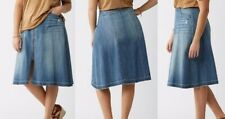 NWT Lane Bryant 26 Denim Zip Front Skirt Plus size Distressed 46x30 Jean