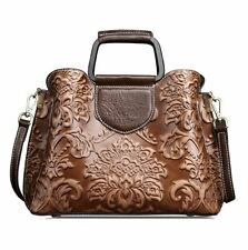 Women Genuine Cow Leather Messenger Shoulder Bag Handbag embossed Purse Retro S