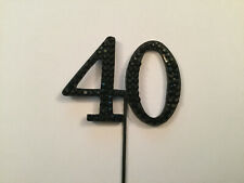 BLACK 40TH BIRTHDAY DIAMANTE CAKE TOPPER DECORATION 40 TH FORTY ANNIVERSARY UK