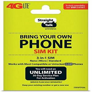 New Straight Talk Bring Your Own Phone (BYOP) 3 size in 1 SIM card Kit AT&T