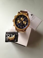 NIXON watch 48-20 CHRONO Gold Blue  A486-1922 A4861922  free shipping