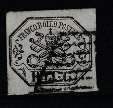 FRANCOBOLLI - 1852 STATO PONTIFICIO 6 BAJ USATO Z/8581