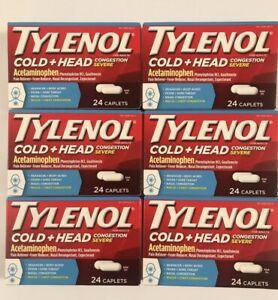 6 TYLENOL- ADULT COLD + HEAD CONGESTION - 24 CAPLETS EACH TOTAL 144  EXP 2/22