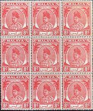 Malaya Straits Settlements  Perlis 8¢  Unissued Block of 9 Toned