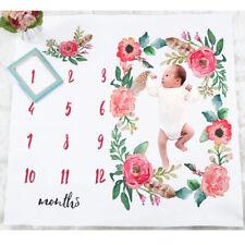 Photography Milestone Newborn Baby Blanket Monthly Photo Prop Flowers Numbers