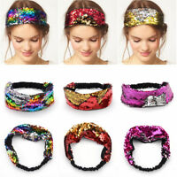 Women Girls Elastic Reversible Sequin Headband Hair Band Party Accessory Glitter