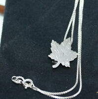 """Sterling Silver 925 Canada Engraved Maple Leaf Pendant Necklace 16"""" Link Chain"""