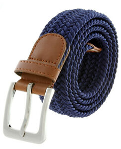 """Navy Stretch Belt Braided Elastic Casual Weave Canvas Fabric Woven Belt 1-3/8"""""""