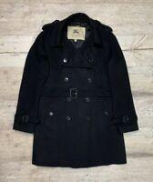 Auth Women's BURBERRY London Black Wool Trench Coat Size M/L UK12 US10
