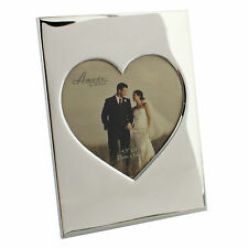 """AMORE Silver Plated Heart Insert 5 X 5"""" Photo Frame Wedding Anniversary"""