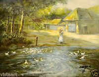 """Oil Painting On Stretched Canvas12""""x16""""- Small Town Pond"""