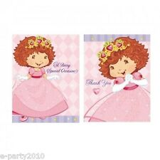 STRAWBERRY SHORTCAKE PRINCESS INVITES & THANK YOUS (8ct. ea) ~ Birthday Supplies