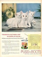 1958 Puss 'n Boots Cat Food features Pure White Cat & Kittens Decor ART PRINT AD