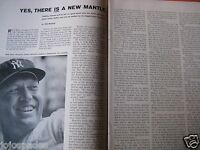 "1961 Mickey Mantle Article & Pic-8.5 x 10.5""-New York Yankees-2 pge Original"