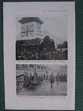 1917 WWI WW1 PRINT ~ NELSON COLUMN CROWD APPEAL WAR LOAN ~ GERMAN-GUN TRAFALGAR