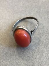 Vintage Chinese Silver Coral Ring