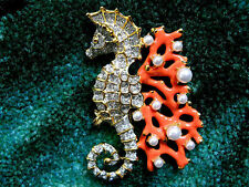Kenneth Jay Lane Crystal & Gold Pearl Dots Coral Branch Seahorse Brooch Pin