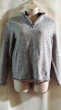 CHRISTOPHER & BANKS~White & Black Knit Sweater~Zippered Mock Neck~L~NWT~$44.95