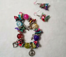 Peace Love Angel Star Symbol Charm Bracelet and Earring Set Multi Color Jewelry