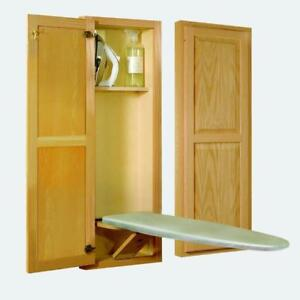 Ironing Center Wood Raised-Panel Door Design Wall Mounted with Built-In Shelf