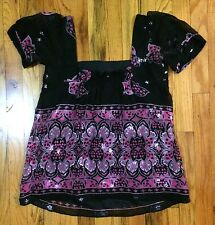 Shoshanna Blouse Hippie Shirt Top Peasant Boho 6 Floral Star Flower Silk
