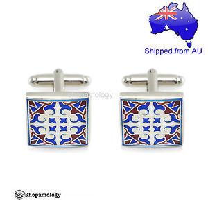 Blue Geometric Pattern Cufflinks in Gift Box
