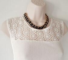 """Preciosa 16"""" largo negro y oro tono Trenzada Collar Cadena de malla de metal"""