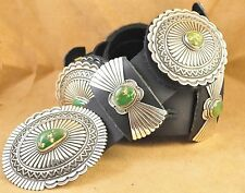 Sterling Silver Navajo Concho Belt Gem Stone Mountain Turquoise Donovan Cadman