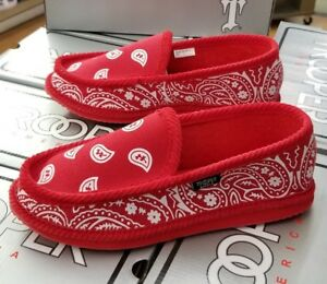 BANDANA HOUSE SHOES PAISLEY  RDWH  MEN'S  RED/WHITE