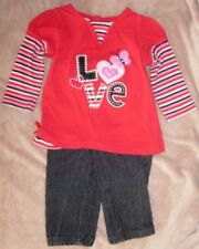 """18 months girls Young Hearts red """"LOVE"""" top & matching black jeans"""