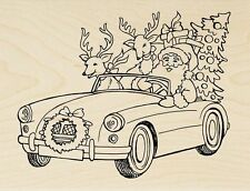 SANTA CRUISING Rubber Stamp R279 Stampendous! Brand NEW! Claus Christmas tree