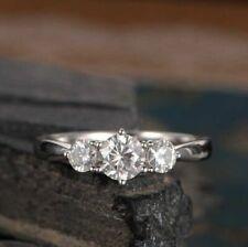 1.50 CT Round 3-Stone Moissanite 6-Prong Set Wedding Band Ring 14k White Gold GP